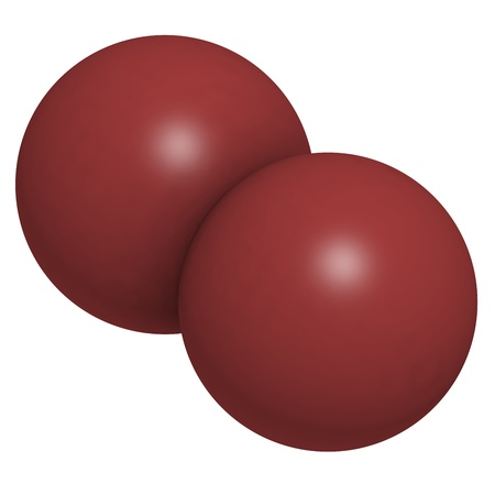 elemental: Elemental bromine (Br2), molecular model. Atoms are represented as spheres with conventional color coding: bromine (brown)