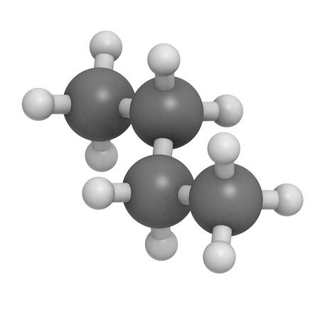 butane: Butano, modelo molecular. Los �tomos se representan como esferas con codificaci�n de color convencionales: hidr�geno (blanco), carbono (gris)