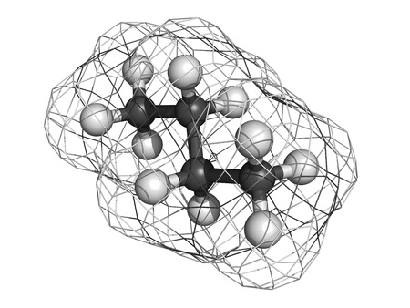 Butane, molecular model. Atoms are represented as spheres with conventional color coding: hydrogen (white), carbon (grey) Stock Photo - 18502458