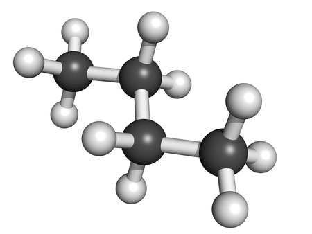 butane: Butane, molecular model. Atoms are represented as spheres with conventional color coding: hydrogen (white), carbon (grey)