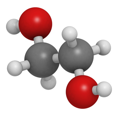 antifreeze: ethylene glycol car antifreeze and polyester building block, molecular model. Atoms are represented as spheres with conventional color coding: hydrogen (white), carbon (grey), oxygen (red)