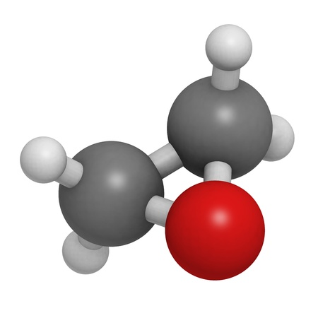 glycol: Ethylene oxide (oxirane), molecular model. Ethylene is the simplest epoxide and is used as a disinfectant and polymer precursor. Atoms are represented as spheres with conventional color coding: hydrogen (white), carbon (grey), oxygen (red)