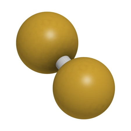 elemental: Elemental fluorine (F2), molecular model. Atoms are represented as spheres with conventional color coding: fluorine (yellow-brown)
