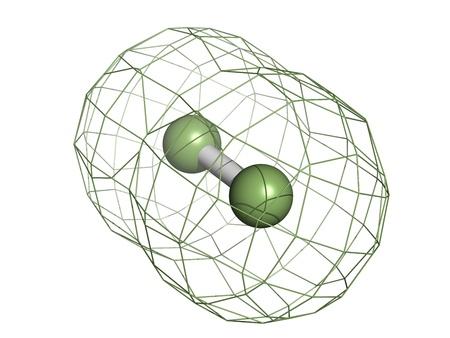 fluorine: Elemental fluorine (F2), molecular model. Atoms are represented as spheres with custom color coding: fluorine (green)