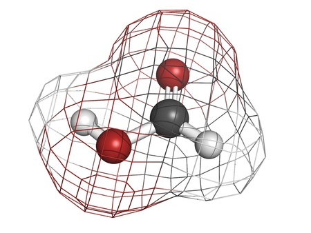 formic: Formic acid ant sting chemical, molecular model. Atoms are represented as spheres with conventional color coding: hydrogen (white), carbon (grey), oxygen (red)