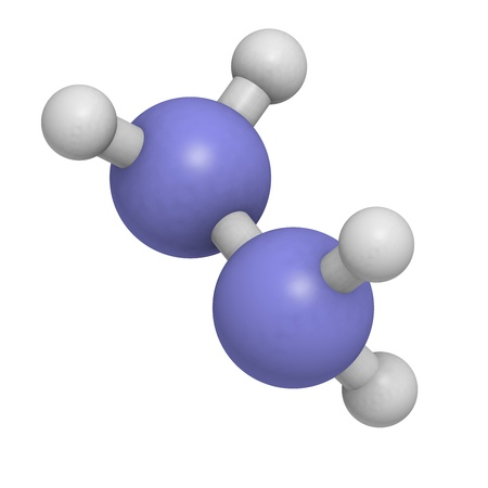 Hydrazine (diazane) rocket fuel component, molecular model. Atoms are represented as spheres with conventional color coding: hydrogen (white), nitrogen (blue) Stock Photo - 18502406