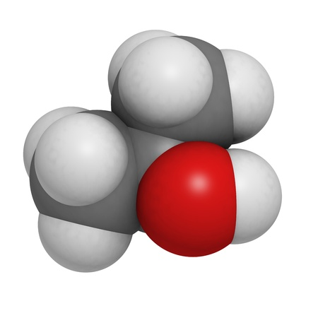 Isopropanol (isopropyl alcholol, 2-propanol) rubbing alcohol, molecular model. Atoms are represented as spheres with conventional color coding: hydrogen (white), carbon (grey), oxygen (red) photo