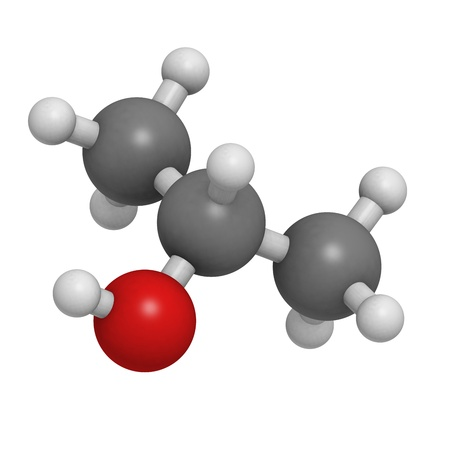 Isopropanol (isopropyl alcholol, 2-propanol) rubbing alcohol, molecular model. Atoms are represented as spheres with conventional color coding: hydrogen (white), carbon (grey), oxygen (red) Stock Photo - 18502427