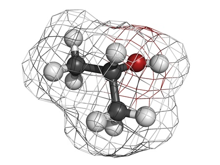 Isopropanol (isopropyl alcholol, 2-propanol) rubbing alcohol, molecular model. Atoms are represented as spheres with conventional color coding: hydrogen (white), carbon (grey), oxygen (red) Stock Photo - 18502462