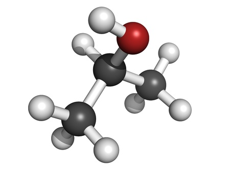 Isopropanol (isopropyl alcholol, 2-propanol) rubbing alcohol, molecular model. Atoms are represented as spheres with conventional color coding: hydrogen (white), carbon (grey), oxygen (red) Stock Photo - 18502390