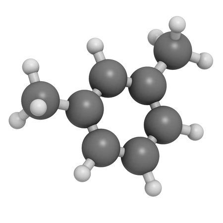 methyl: Xylene (meta-xylene, xylol) aromatic hydrocarbon, molecular model. Atoms are represented as spheres with conventional color coding: hydrogen (white), carbon (grey)