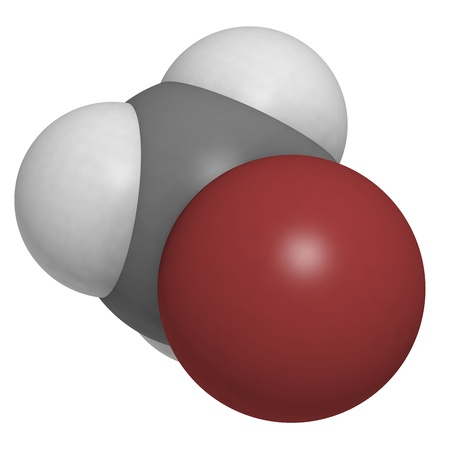 methyl: Bromomethane (methyl bromide) pesticide, fumigant and soil sterilant, molecular model. Atoms are represented as spheres with conventional color coding: hydrogen (white), carbon (grey), bromine (brown)