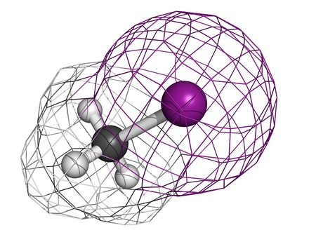 Iodomethane (methyliodide, MeI) pesticide, soil disinfectant and fumigant, molecular model. Atoms are represented as spheres with conventional color coding: hydrogen (white), carbon (grey), iodine (purple) Stock Photo - 18502465