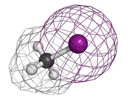desinfectante: Yodometano (yoduro de metilo, MeI) pesticidas, desinfectantes del suelo y fumigantes, modelo molecular. Los �tomos se representan como esferas con codificaci�n de colores convencionales: hidr�geno (blanco), el carb�n (gris), yodo (p�rpura) Foto de archivo