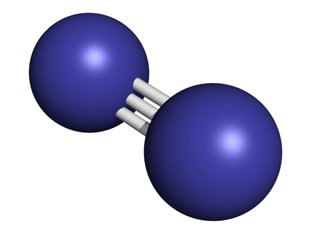 Elemental nitrogen (N2), molecular model. Nitrogen gas is the main component of the Earth's atmosphere. Atoms are represented as spheres with conventional color coding: nitrogen (blue) 写真素材
