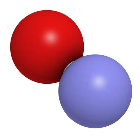 signalering: Stikstofmonoxide (NO) door vrije radicalen en signalering molecuul, moleculaire model. Het is ook bekend als het endothelium-derived relaxing factor (EDRF). Atomen weergegeven als gebieden met conventionele kleurcodering: zuurstof (rood), stikstof (blauw) Stockfoto
