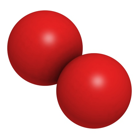 o2: Elemental oxygen (O2), molecular model. Atoms are represented as spheres with conventional color coding: oxygen (red)