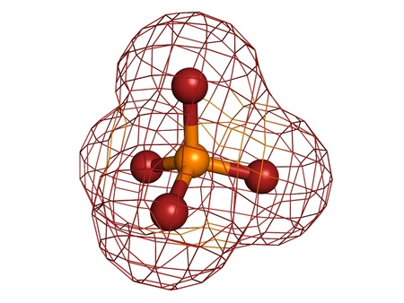 phosphate: Phosphate, molecular model. Atoms are represented as spheres with conventional color coding: oxygen (red), phosphorus (yellow-orange) Stock Photo
