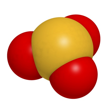 preservative: Sulfite (sulphite) food and wine preservative, molecular model. Atoms are represented as spheres with conventional color coding: sulfur (yellow), oxygen (red)