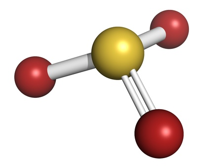 enhancer: Sulfite (sulphite) food and wine preservative, molecular model. Atoms are represented as spheres with conventional color coding: sulfur (yellow), oxygen (red)