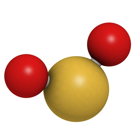 Sulfur dioxide (sulphur dioxide, SO2) gas, molecular model. SO2 (E220) is also used in winemaking. Atoms are represented as spheres with conventional color coding: sulfur (yellow), oxygen (red) photo