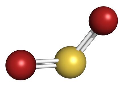 Zwaveldioxide (zwaveldioxide, SO2) gas, moleculair model. SO2 (E220) wordt ook gebruikt bij de wijnbereiding. Atomen weergegeven als gebieden met conventionele kleurcodering: zwavel (geel), zuurstof (rood) Stockfoto