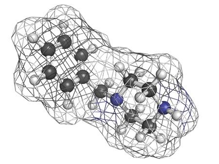 euforia: 1-benzilpiperacina (BZP) droga recreativa, modelo molecular. BZP es el ingrediente principal original de pastillas para fiestas o altas hierbas y tiene propiedades tanto estimulantes como inductores de euforia. Los �tomos se representan como esferas con c�digo de colores convencional: hydrog Foto de archivo