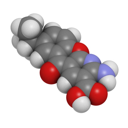 kinase: Amlexanox canker sore drug, molecular model. Amlexanox is used to treat aphthous ulcers in the mouth as well as several inflammatory diseases. Atoms are represented as spheres with conventional color coding: hydrogen (white), carbon (grey), oxygen (red),