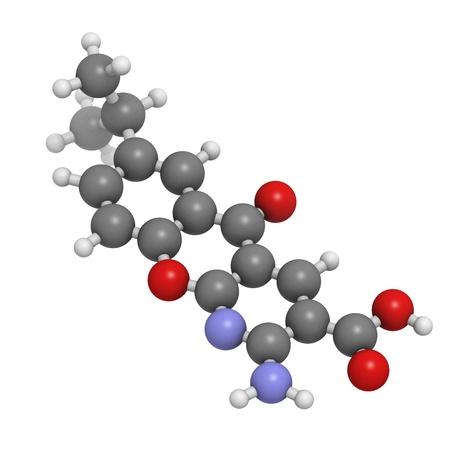 ulceras: Amlexanox afta droga, modelo molecular. Amlexanox se utiliza para tratar las �lceras aftosas en la boca, as� como varias enfermedades inflamatorias. Los �tomos se representan como esferas con codificaci�n de color convencionales: hidr�geno (blanco), carbono (gris), ox�geno (rojo), Foto de archivo
