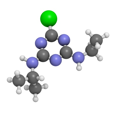 Atrazine herbicide, molecular model. Atoms are represented as spheres with conventional color coding: hydrogen (white), carbon (grey), nitrogen (blue), chlorine (green) Stock Photo - 18805867