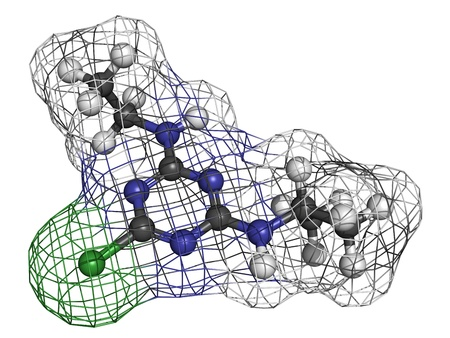 Atrazine herbicide, molecular model. Atoms are represented as spheres with conventional color coding: hydrogen (white), carbon (grey), nitrogen (blue), chlorine (green) Stock Photo - 18805960