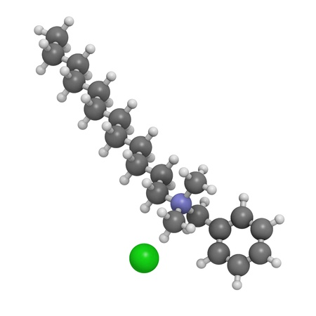 ammonium: Benzalkonium chloride biocide, molecular model. Atoms are represented as spheres with conventional color coding: hydrogen (white), carbon (grey), nitrogen (blue), chlorine, (green). Stock Photo