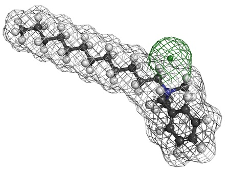 Benzalkonium chloride biocide, molecular model. Atoms are represented as spheres with conventional color coding: hydrogen (white), carbon (grey), nitrogen (blue), chlorine, (green). Stock Photo