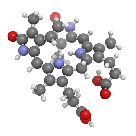 Bilirubin heme breakdown product, molecular model. Atoms are represented as spheres with conventional color coding: hydrogen (white), carbon (grey), oxygen (red), nitrogen (blue) photo