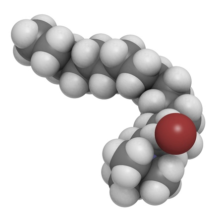 antiseptic: Cetrimonium bromide antiseptic, molecular model. Atoms are represented as spheres with conventional color coding: hydrogen (white), carbon (grey), nitrogen (blue), bromine (brown) Stock Photo