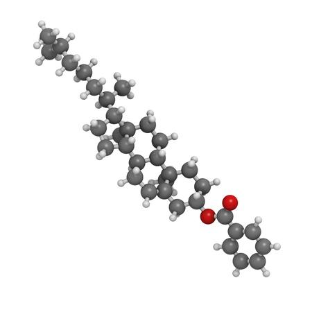 liquid crystal: Colesterilo mol�cula de cristal l�quido, benzoato de estructura qu�mica. Los �tomos se representan como esferas con c�digo de colores convencionales: hidr�geno (blanco), el carb�n (gris), ox�geno (roja)