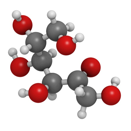 glycemic: Tagatose sweetener, molecular model. Atoms are represented as spheres with conventional color coding: hydrogen (white), carbon (grey), oxygen (red) Stock Photo