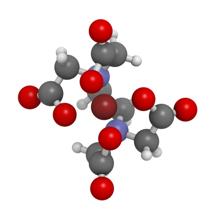 anticoagulant: EDTA hierro complejo modelo molecular. Los �tomos se representan como esferas con codificaci�n de colores convencionales: hidr�geno (blanco), el carb�n (gris), ox�geno (roja), nitr�geno (azul), hierro (marr�n)