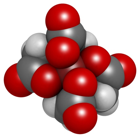 limescale: EDTA iron complex, molecular model. Atoms are represented as spheres with conventional color coding: hydrogen (white), carbon (grey), oxygen (red), nitrogen (blue), iron (brown)