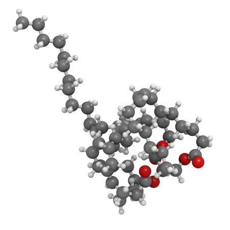 model fish: Fish oil triglyceride containing docosahexanoic acid (DHA), gadoleic acid and palmitoleic acid. Molecular model. Atoms are represented as spheres with conventional color coding: hydrogen (white), carbon (grey), oxygen (red). Stock Photo