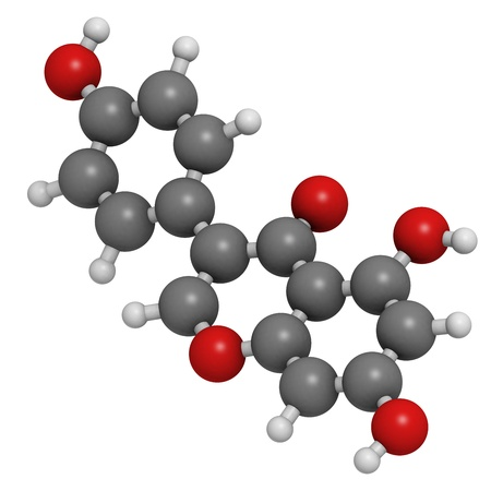 estrogen: Genistein isoflavone, molecular model. Atoms are represented as spheres with conventional color coding: hydrogen (white), carbon (grey), oxygen (red) Stock Photo