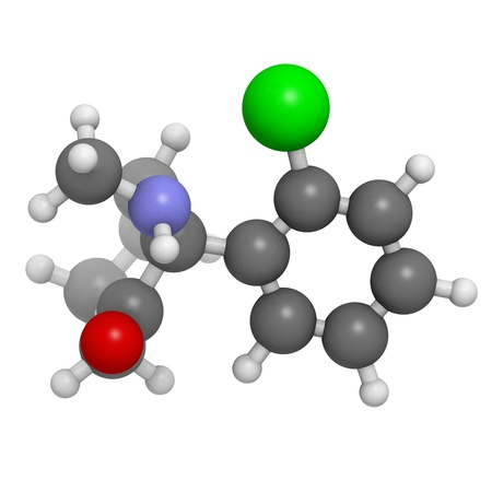 analgesia: Ketamine anaesthetic drug, molecular model. Atoms are represented as spheres with conventional color coding: hydrogen (white), carbon (grey), oxygen (red), nitrogen (blue), chlorine (green)