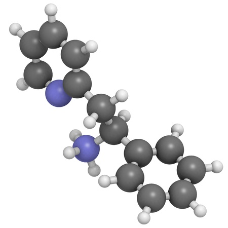 antidepressant: Lanicemine experimental antidepressant, molecular model. Atoms are represented as spheres with conventional color coding: hydrogen (white), carbon (grey), nitrogen (blue)
