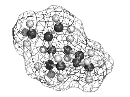 limonene: limonene citrus scent molecule, chemical structure. Atoms are represented as spheres with conventional color coding: hydrogen (white), carbon (grey)