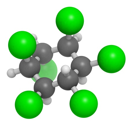 Lindane pesticide, molecular model. Atoms are represented as spheres with conventional color coding: hydrogen (white), carbon (grey), chlorine (green). Stock Photo - 18805953
