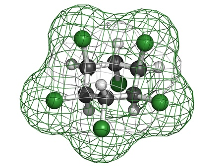 Lindane pesticide, molecular model. Atoms are represented as spheres with conventional color coding: hydrogen (white), carbon (grey), chlorine (green). Stock Photo - 18805962