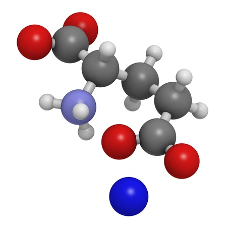 glutamate: Sodium glutamate (umami flavor), molecular model. Atoms are represented as spheres with conventional color coding: hydrogen (white), carbon (grey), oxygen (red), nitrogen (blue), sodium (dark blue). Stock Photo
