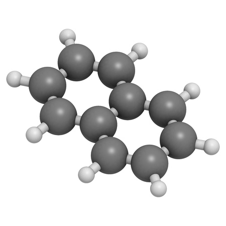 creosote: Naphthalene mothball ingredient, molecular model. Atoms are represented as spheres with conventional color coding: hydrogen (white), carbon (grey) Stock Photo
