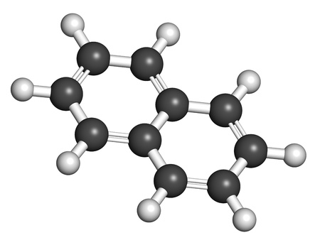 naphtha: Naphthalene mothball ingredient, molecular model. Atoms are represented as spheres with conventional color coding: hydrogen (white), carbon (grey) Stock Photo