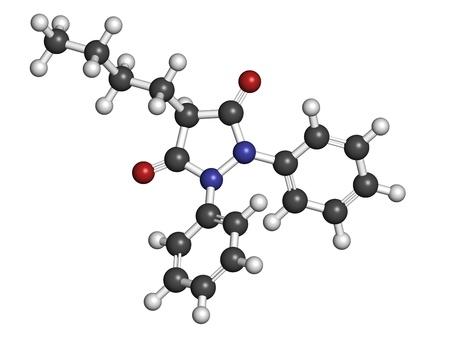 spondylitis: phenylbutazone (bute) horse painkiller, molecular model. Atoms are represented as spheres with conventional color coding: hydrogen (white), carbon (grey), oxygen (red), nitrogen (blue)